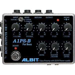ALBIT アルビット / A1PS-B BASS PRE-AMP with DC9V POWER SUPPLY【ベース用プリアンプ】【パワーサプライ】
