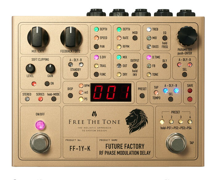 Free The Tone フリーザトーン / FUTURE FACTORY FF-1Y-K RF PHASE MODULATION DELAY Ken(L'Arc~en~Ciel) Signature Model【デュアルデジタルディレイ】